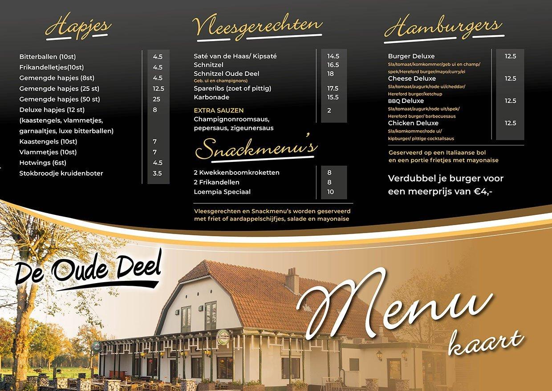 menukaart cafe