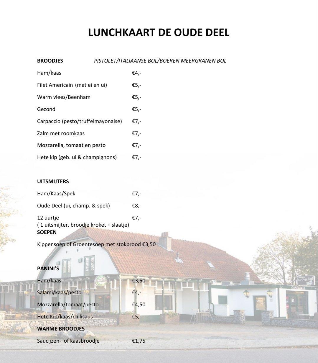 lunchkaart cafetaria